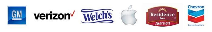 General Motors, Verizon, Welch's, Apple, Residence Inn by Marriott, Chevon