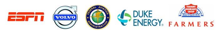 ESPN, Volvo, Federal Aviation Administration, Duke Energy, Farmers' Insurance Group