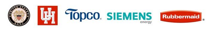 United States Navy, University of Houston, Topco, Siemens Energy, Rubbermaid