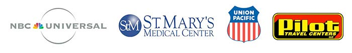 NBC Universal, St. Mary's Medical Center, Union Pacific, Pilot Travel Center